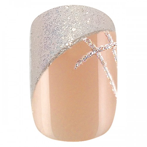 24 faux ongles Idyllic Nails Shiny French 150081