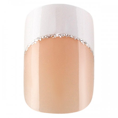 24 faux ongles Idyllic Nails Silver French 150087