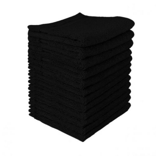 Serviettes éponge Très Grand Teint Noires  (la douzaine)